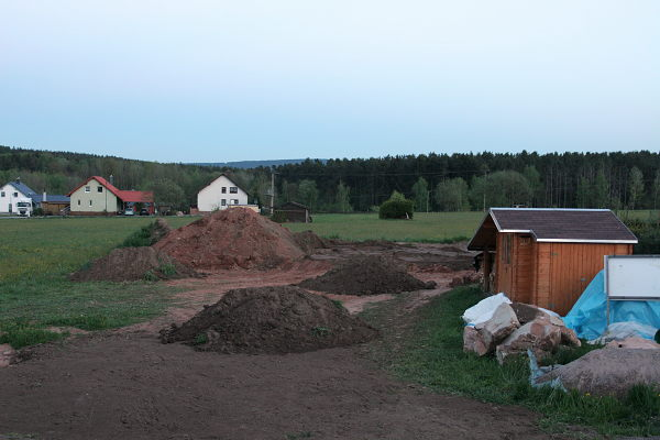 The mountain of soil nearly gone