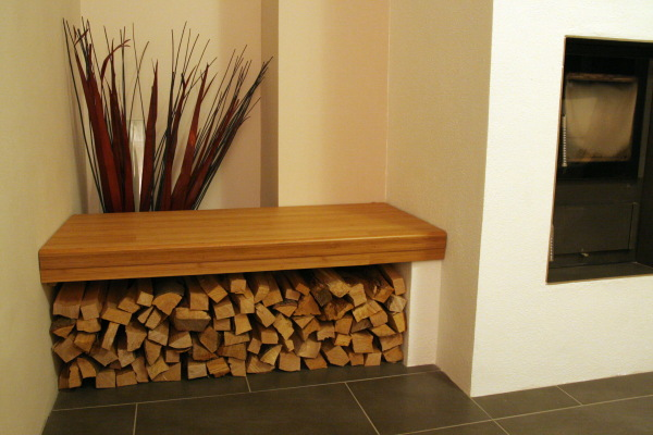 Seat bench and wood storage