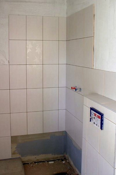 Tiles at the shower wall