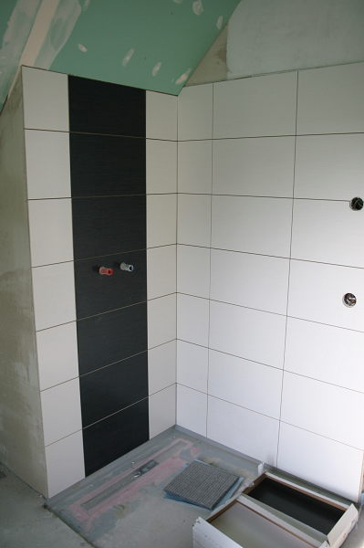 Shower with black and white tiles