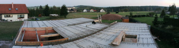 Panorama of the ground floor ceiling plates with reinforcement from the top