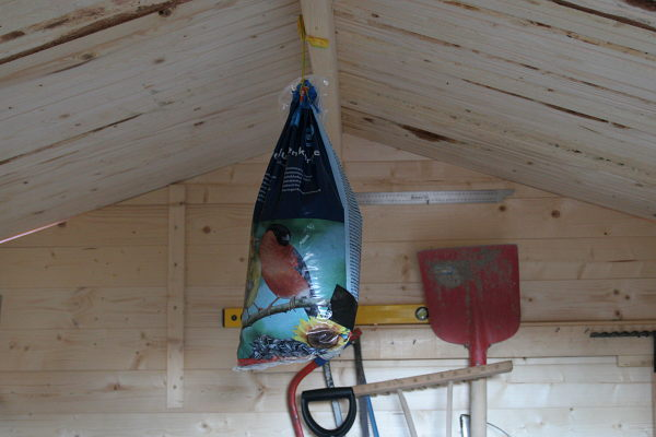 The bag with the bird seed is hanging from the roof of the garden shed.