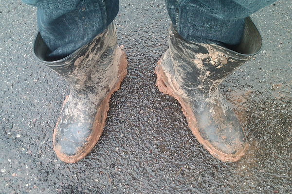 Dirty rubber boots