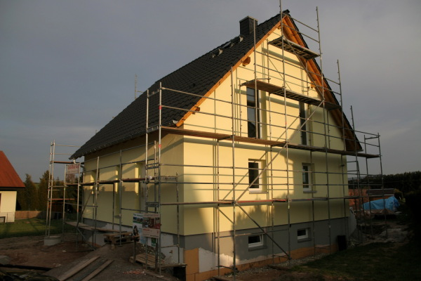 House with plaster ready