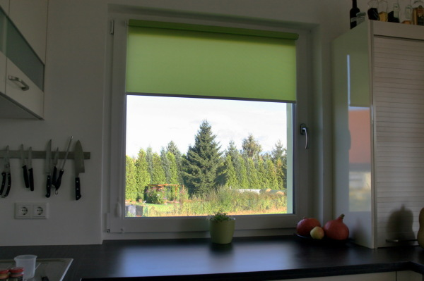 Green roller blind in the kitchen