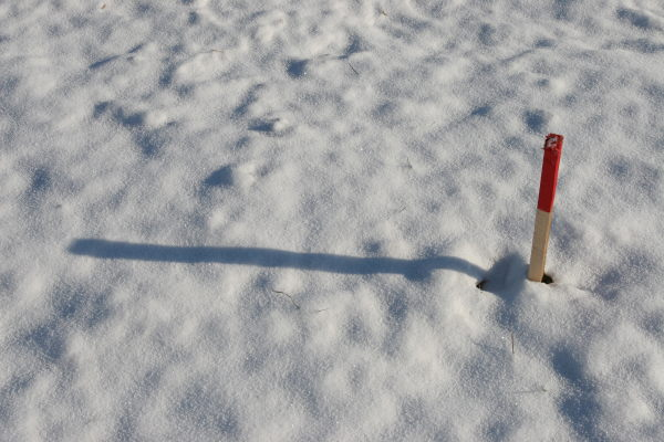 A marker in the snow