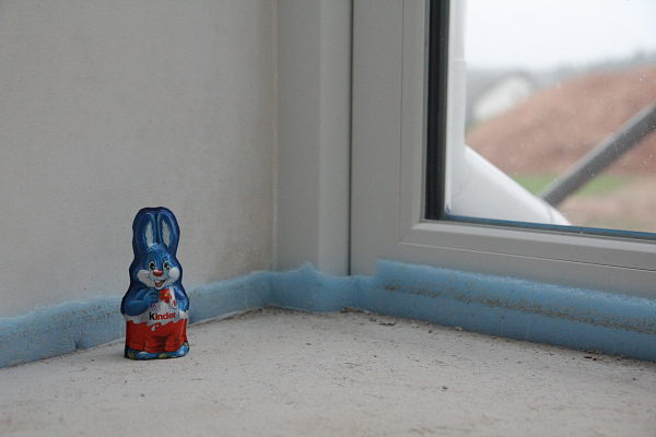 A little easter bunny in fron of the glass wall.
