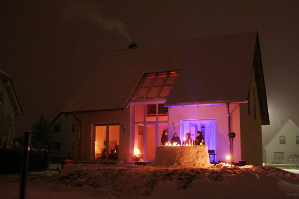 The snow bar in front of the house.