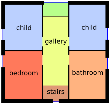 The upper floor with two child rooms, a bedroom and another bathroom