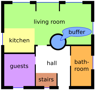 The ground floor with living room, kitchen, guest room and bathroom