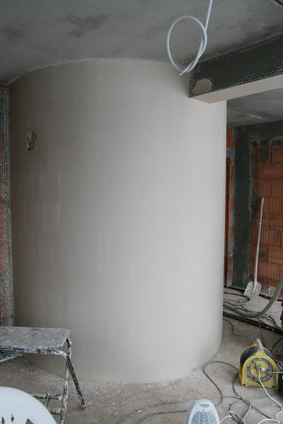 The plaster wall of the buffer in the living room