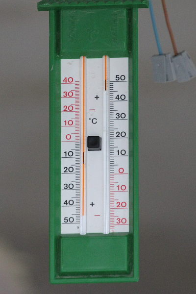 Picture of a thermometer with 46°C shown.