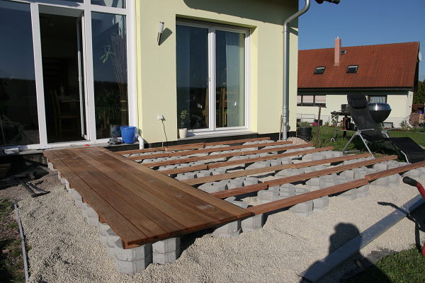 partially finished wooden terrace