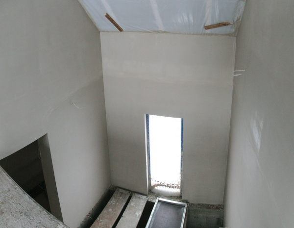 View into the plastered staircase
